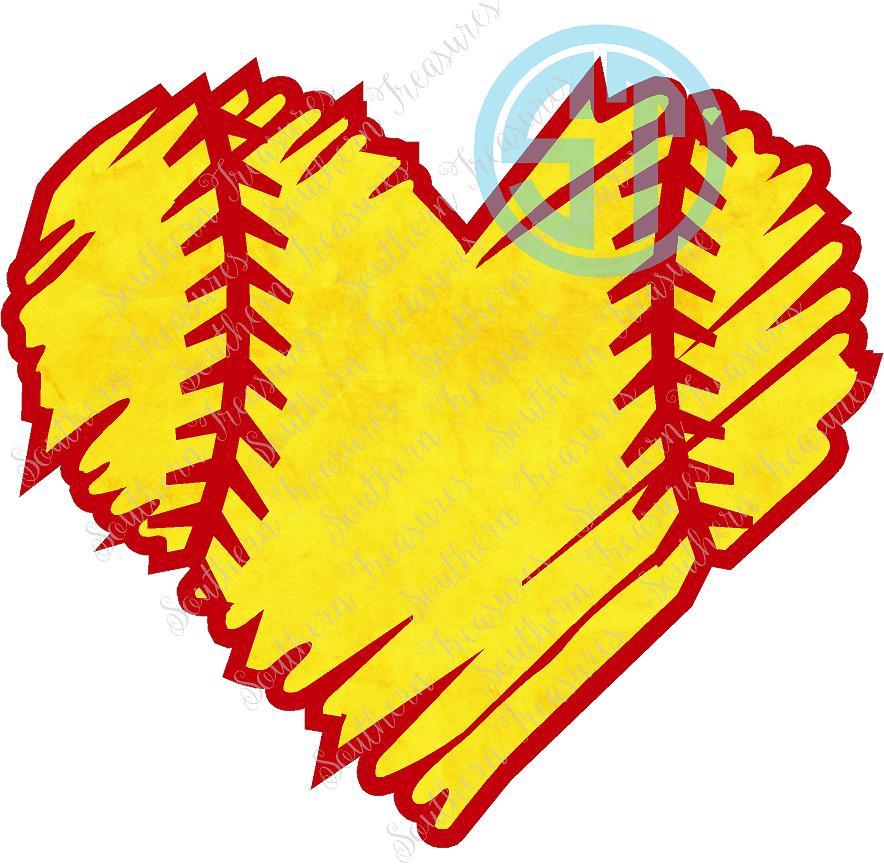 Softball distressed. Heart decal