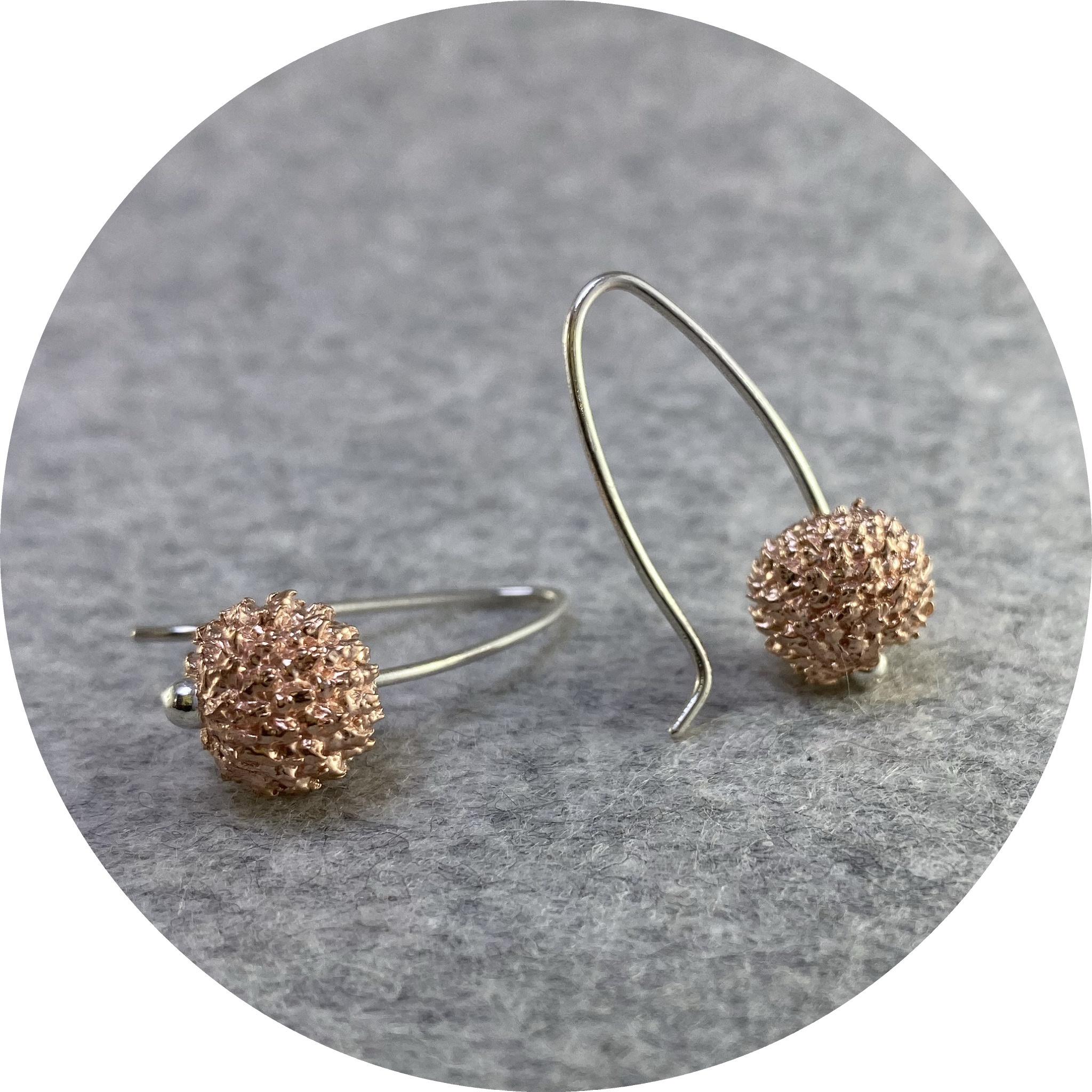 Manuela Igreja - 'Rose Sheoak Drop Earrings', 925 silver, rose gold plate
