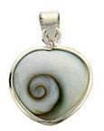 Pendant Heart 16x16mm Spiral Cats Eye Shell Stg Silver