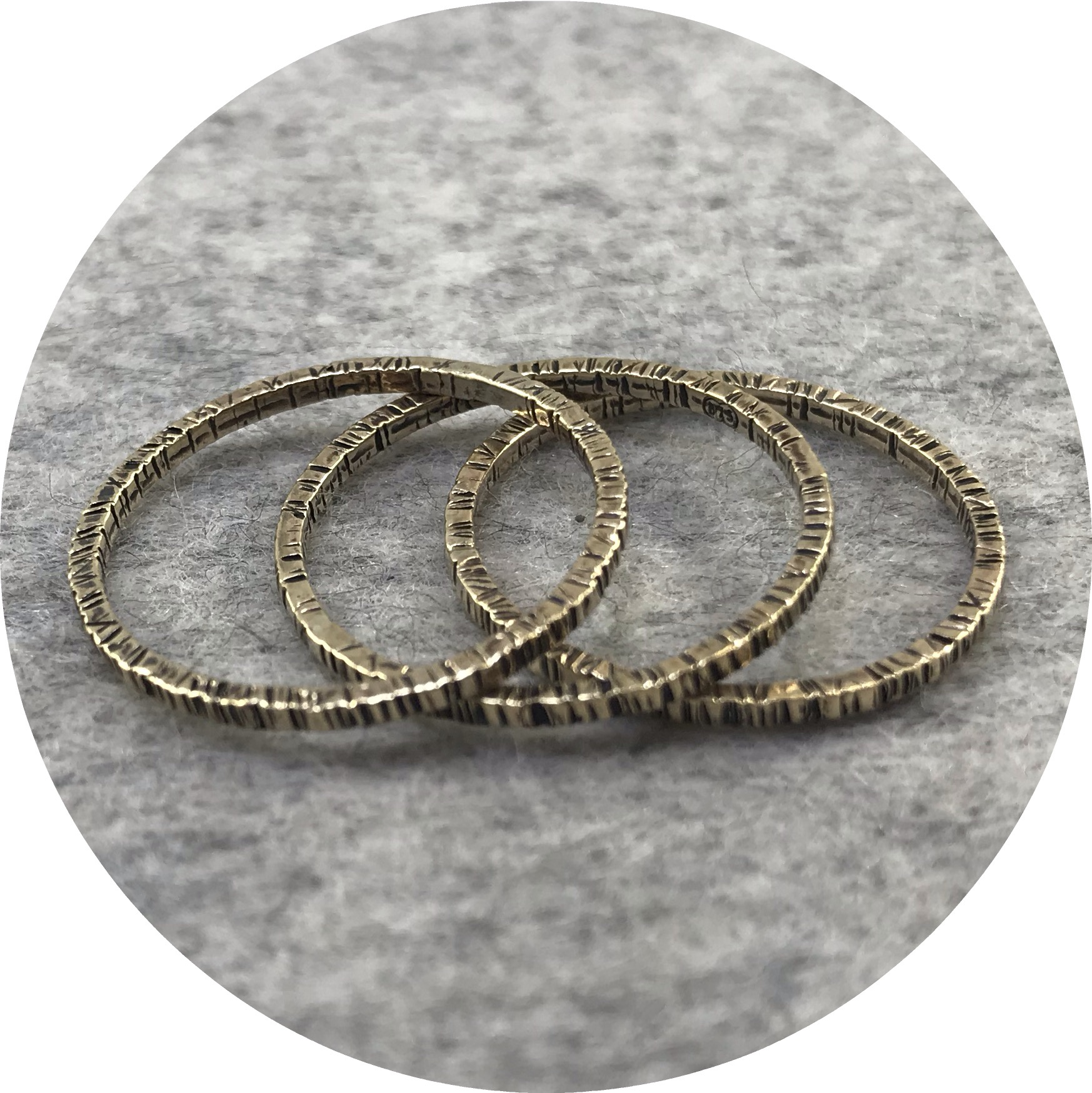 Emily Becher, 'Tactility Gold Stack Rings', 9ct yellow gold, black ruthenium plating Q.5