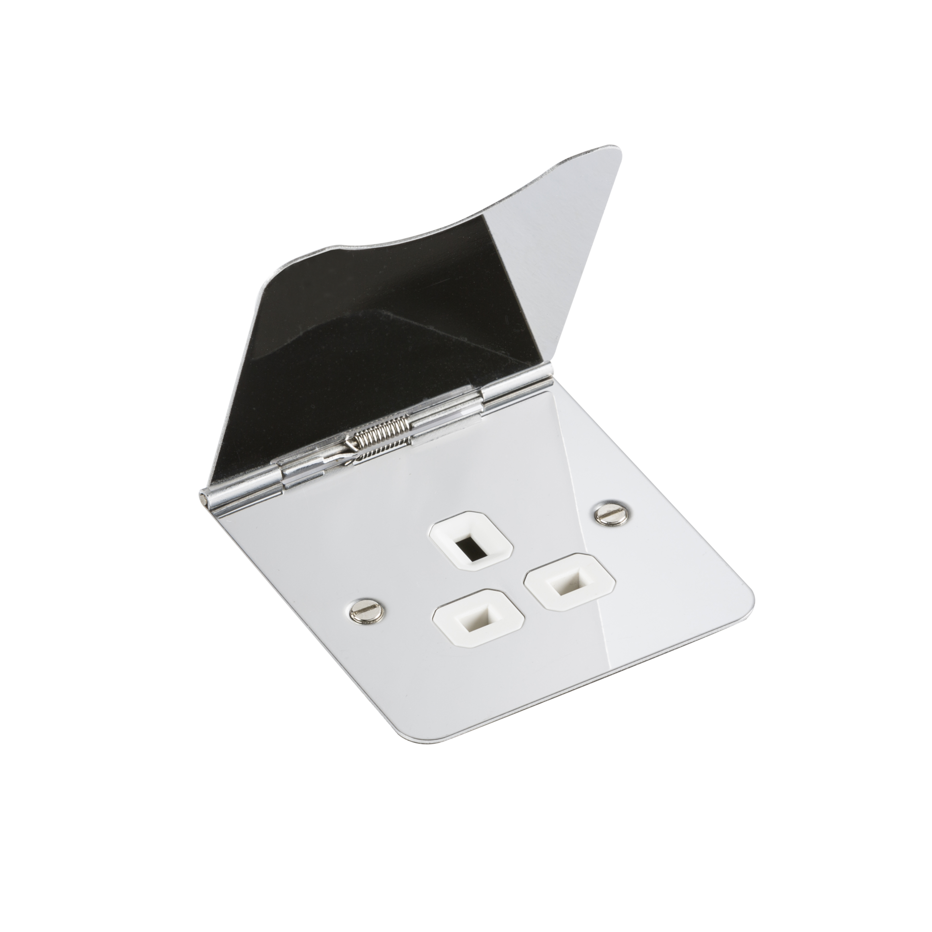 FLAT PLATE 13A 1G UNSWITCHED FLOOR SOCKET - POLISHED CHROME