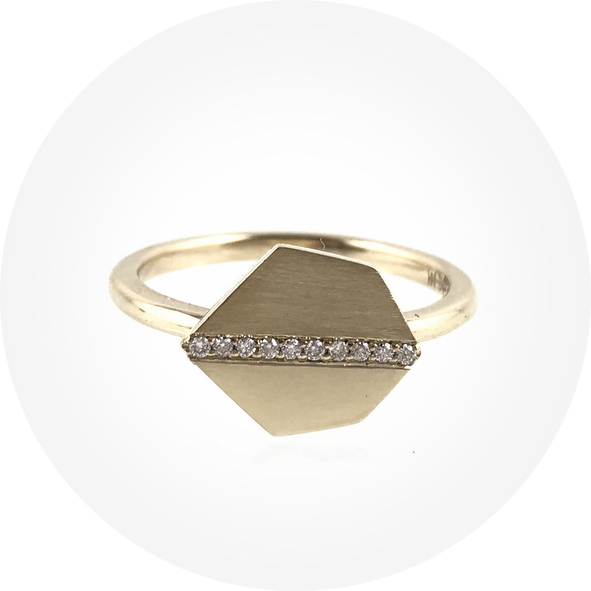 Angela Natalier-All in a row ring, 9ct yellow gold, white diamonds. size O1/2