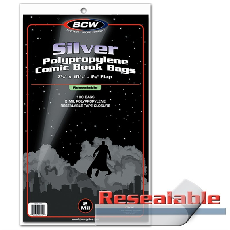 BCW Resealable Silver Comic Bags 100 Pack