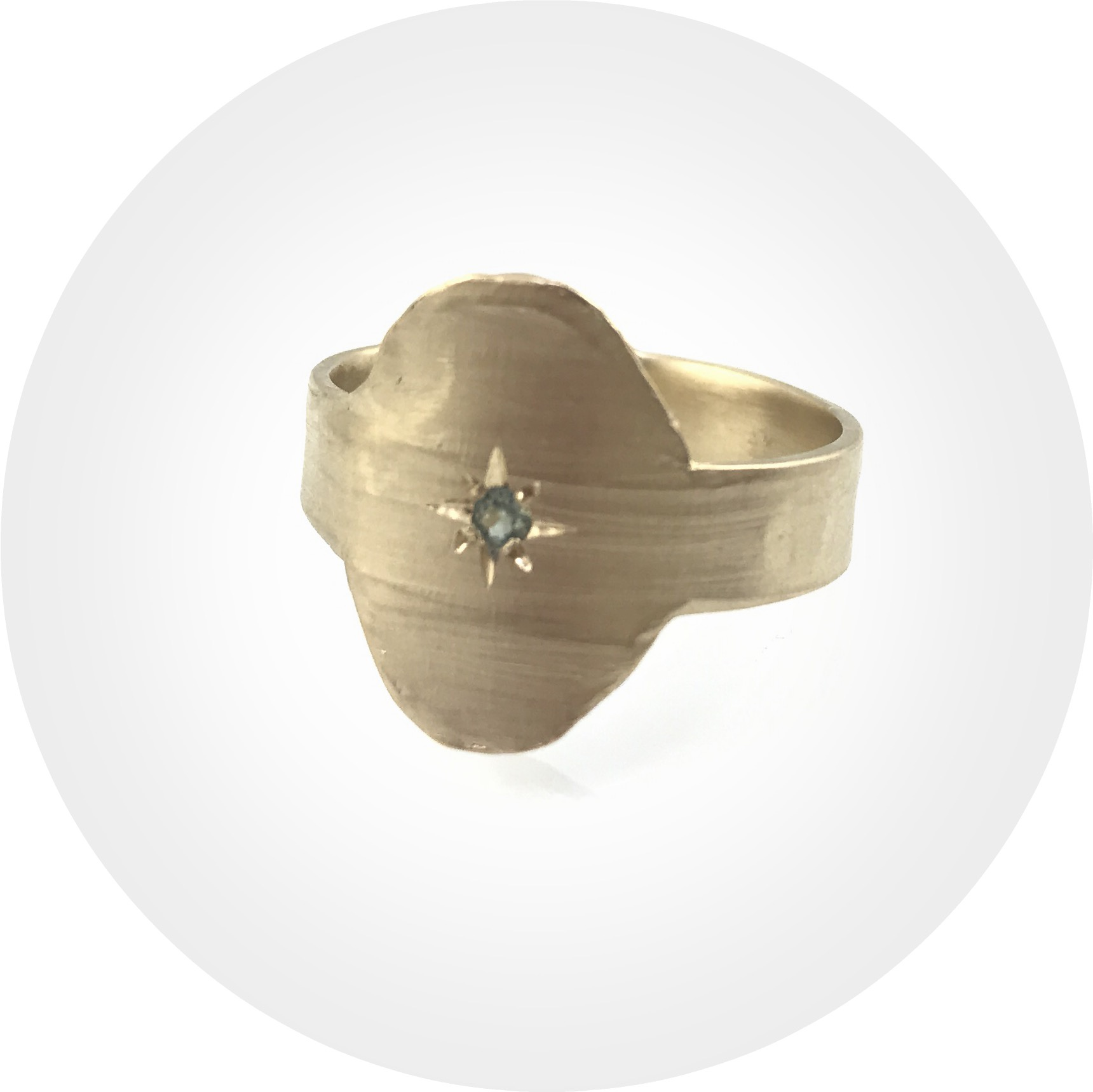Nina Baker - Mystic Caper Series - Oval Signet Ring in 9ct Yellow Gold with Australian Blue Sapphire