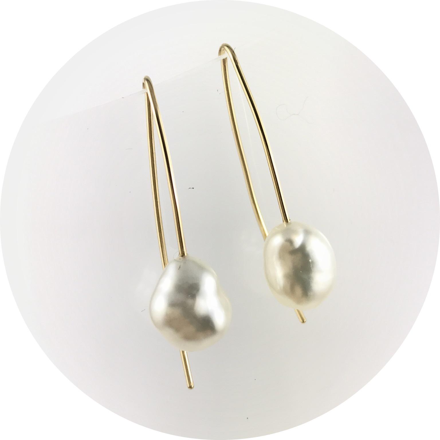 Kin - Keshi South Sea Drop Pearl Earrings in 18ct Yellow Gold