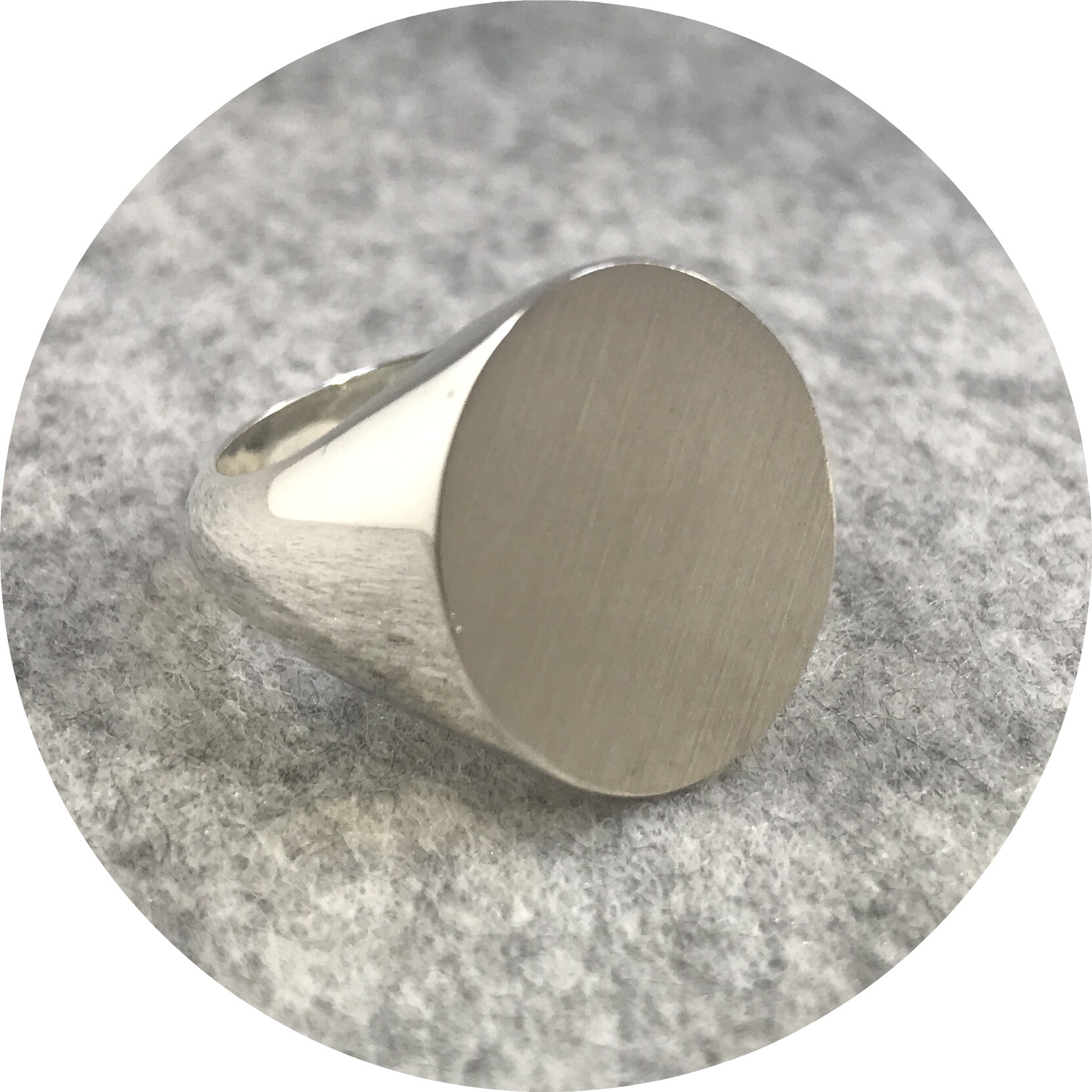 Fin Mahon- Oval Flat top signet ring. Solid sterling silver. Size U.