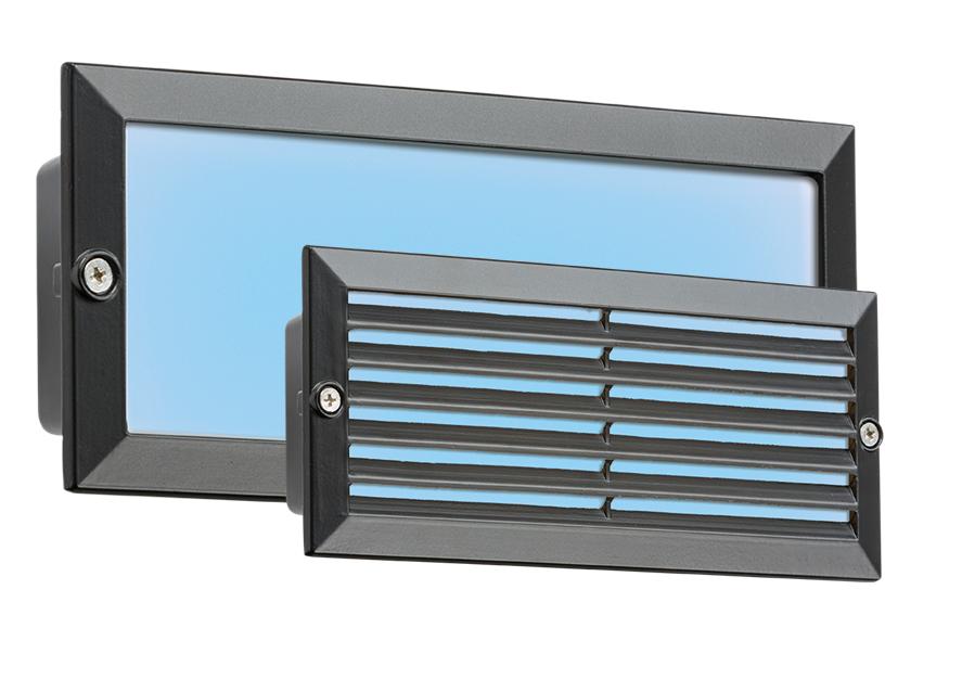 230V IP54 5W BLUE LED BRICK LIGHT - BLACK FASCIA