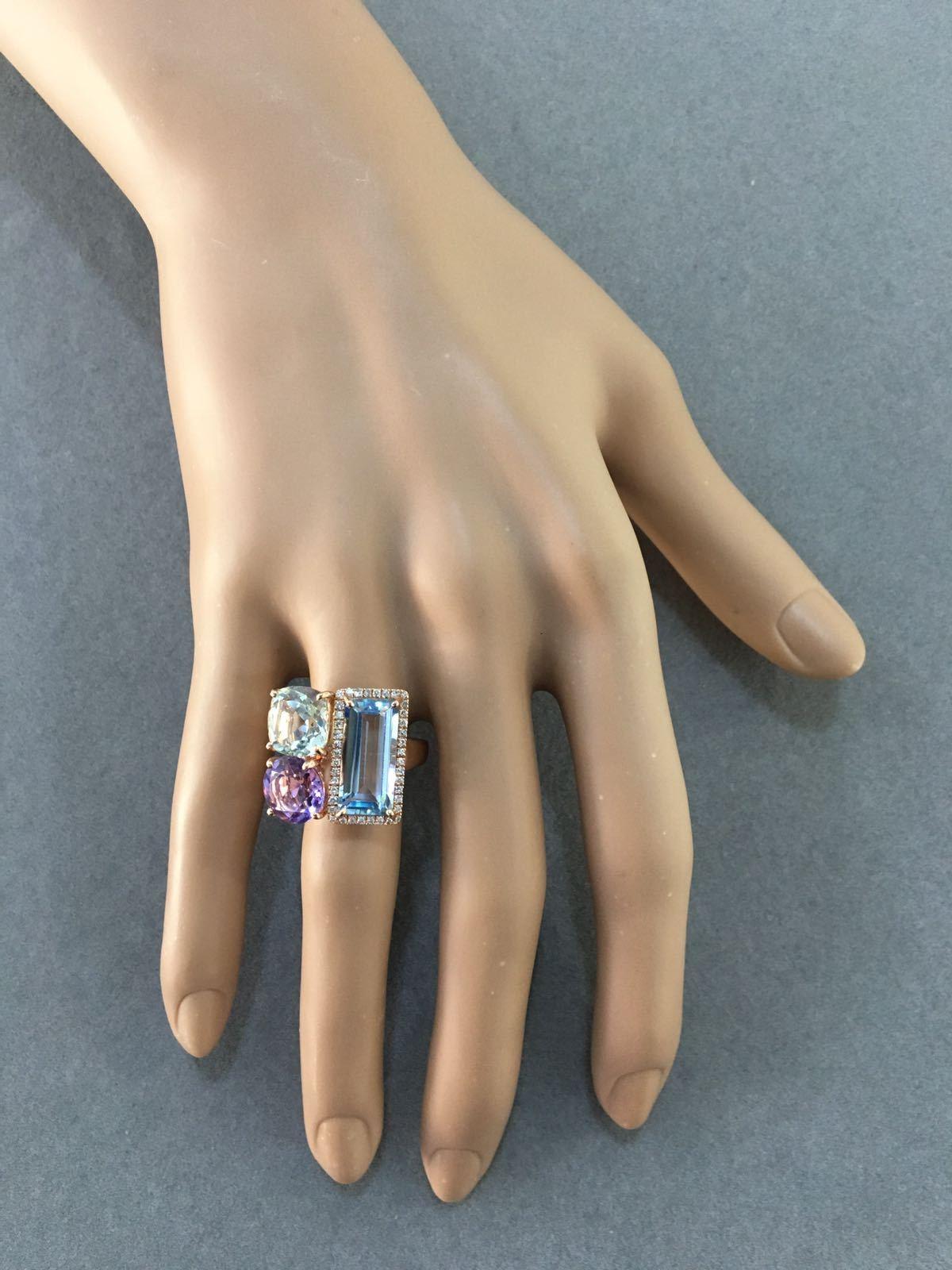 Multi Stone Blue Topaz, Green Amethyst & Diamond Ring
