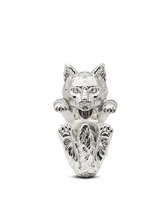 Norwergian Forest Cat Sterling Silver Hug Ring