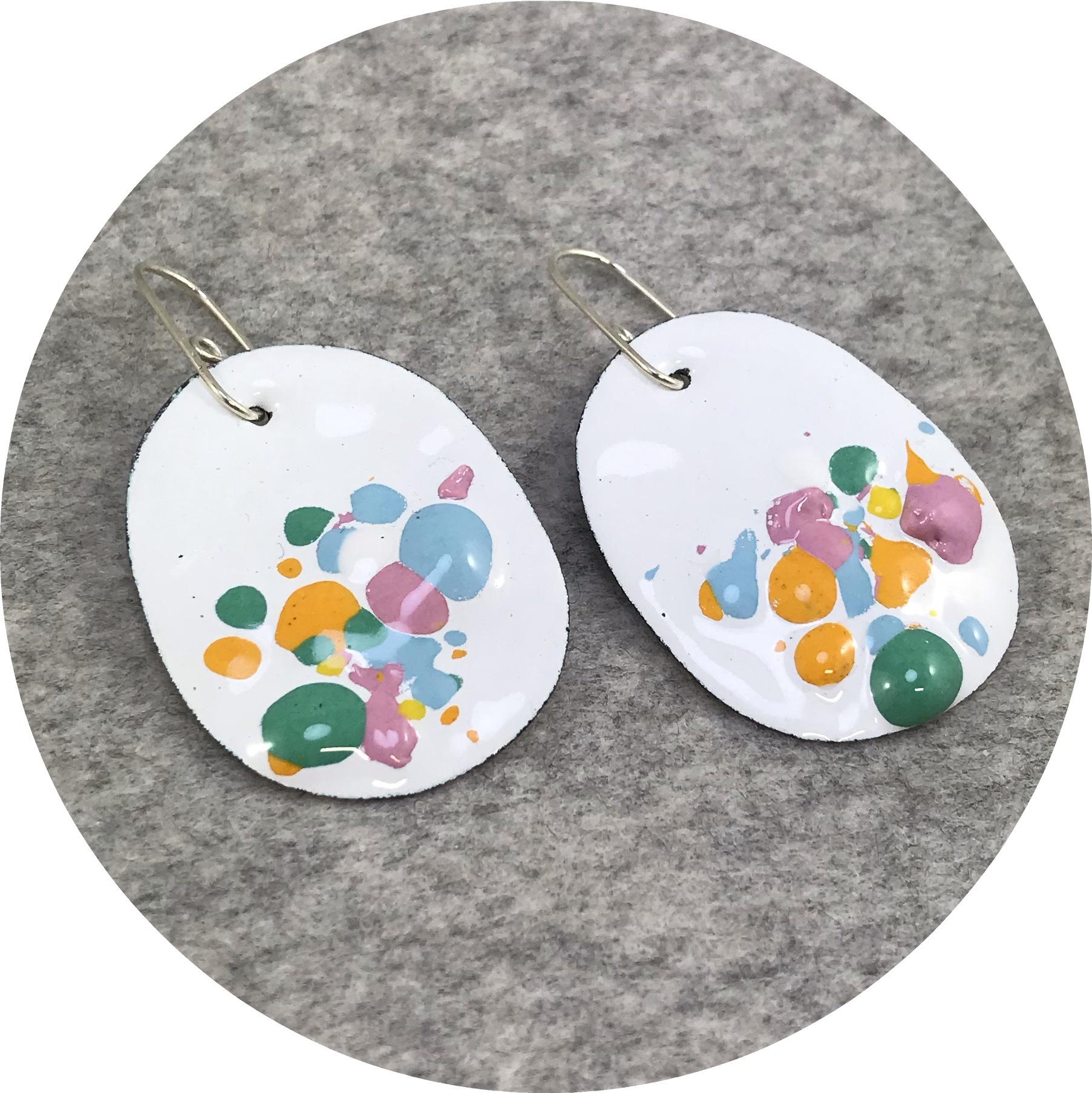 Jenna O'Brien - Medium Queenie Earrings with White Enamel and Candy Coloured Flecks