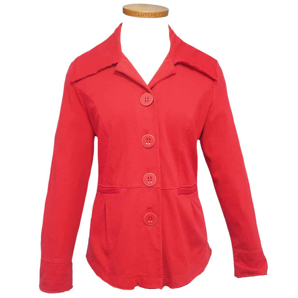 Habitat Women S Cotton Span Ruched Jacket Rouge Women S Clothing