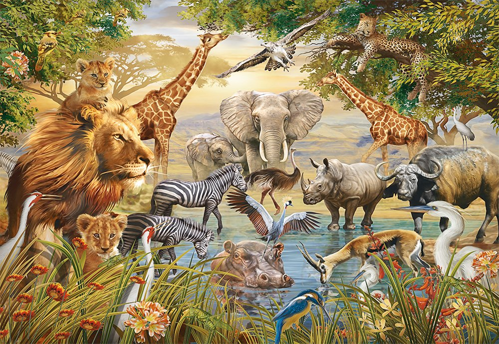 MAJESTIC WATERING HOLE WITH ANIMALS 500 PCS