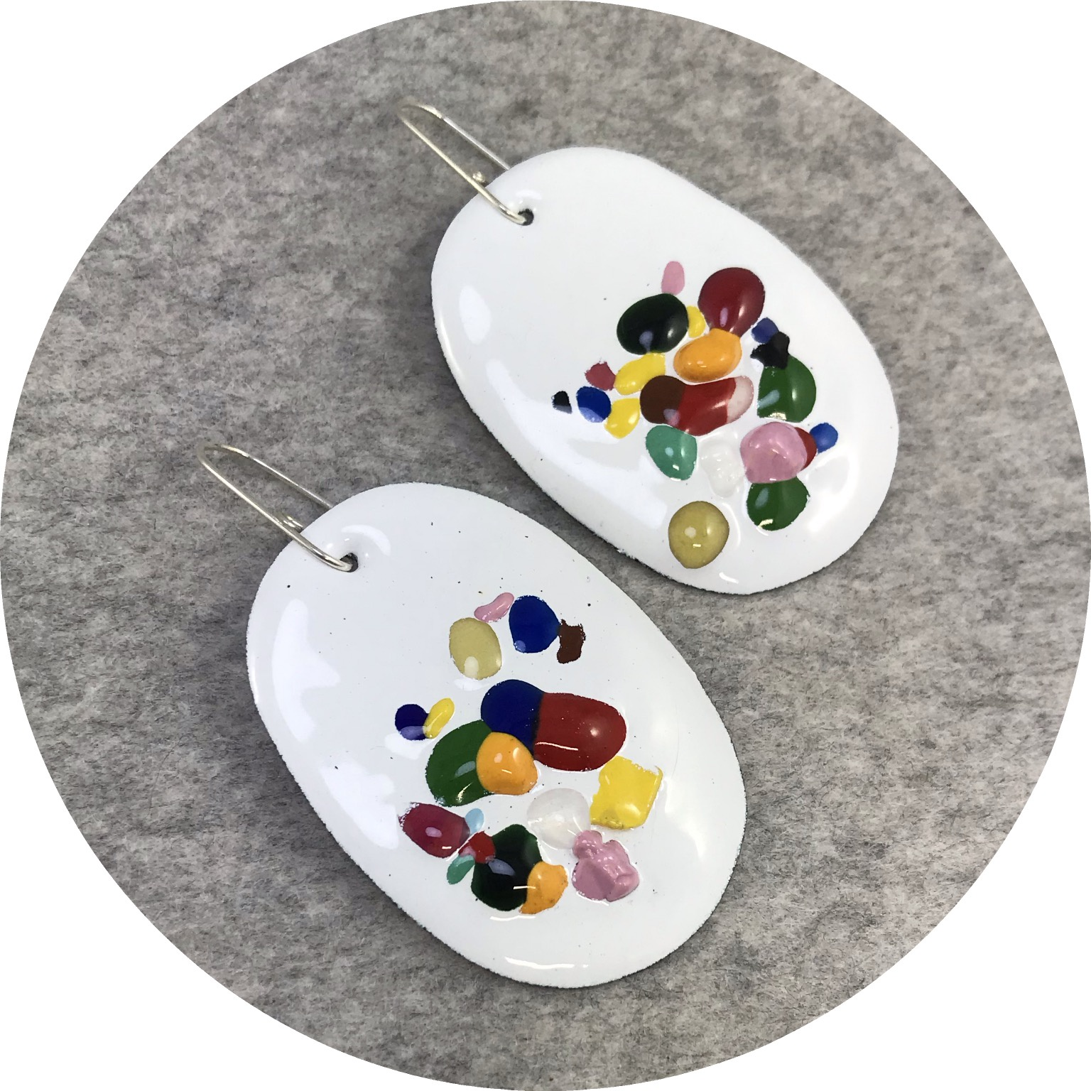 Jenna O'Brien - Medium Earrings in White Enamel with Multi Coloured Flecks