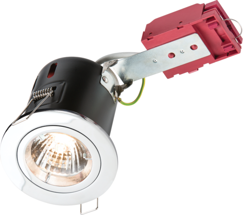 230V 50W Fixed GU10 IC Fire-Rated Downlight in Chrome