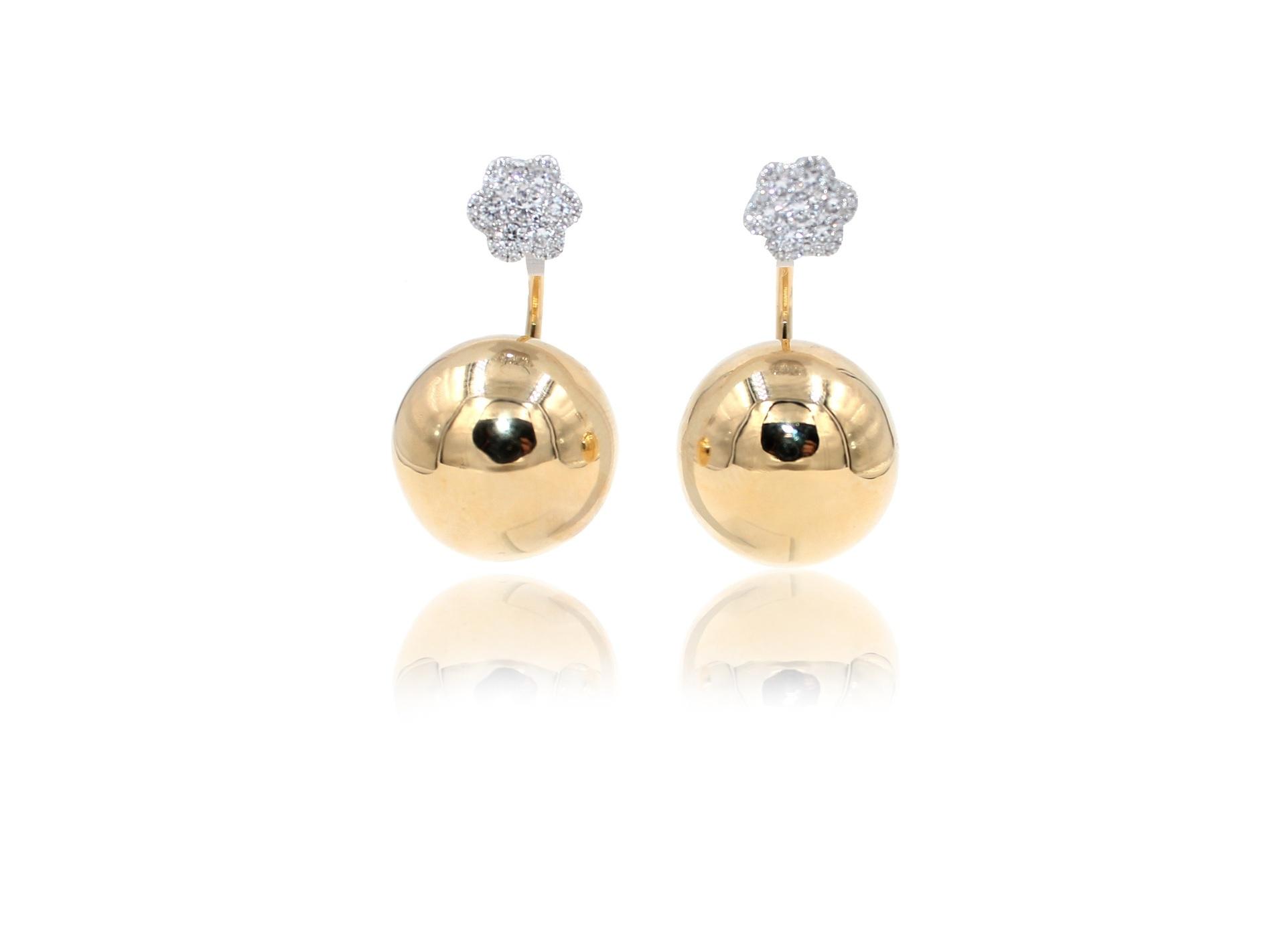 Geometric Diamond Golden Globe Sphere Earrings