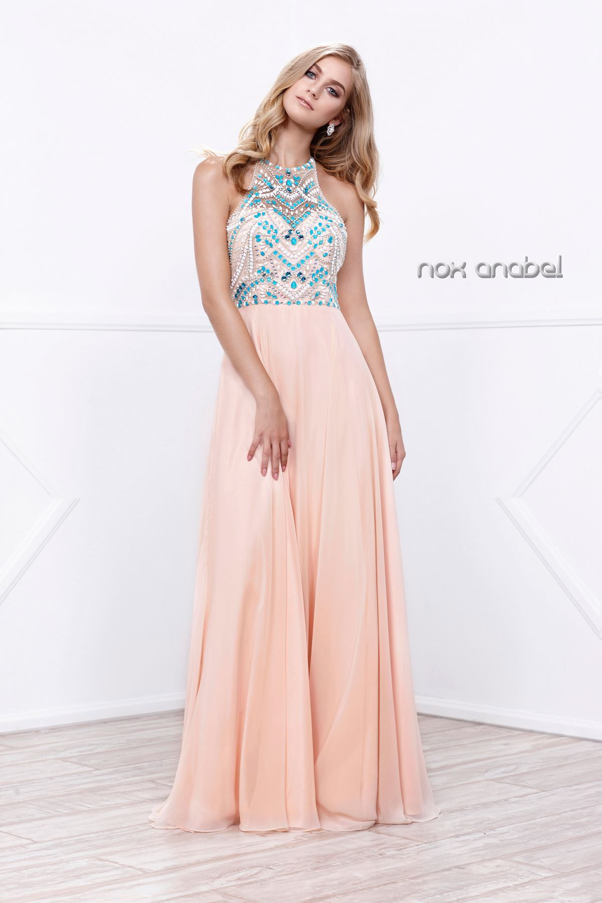 Sheer Halter Top Formal Gown with Chiffon Skirt | Prom Dresses ...