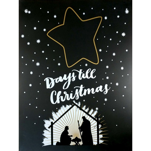 Days Till Christmas Chalkboard.Plaque Metal Days Till Christmas Chalkboard