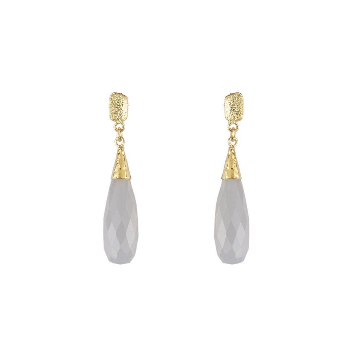 Elegant Faceted Gemstone Teardrop Earrings in Grey Chalcedony