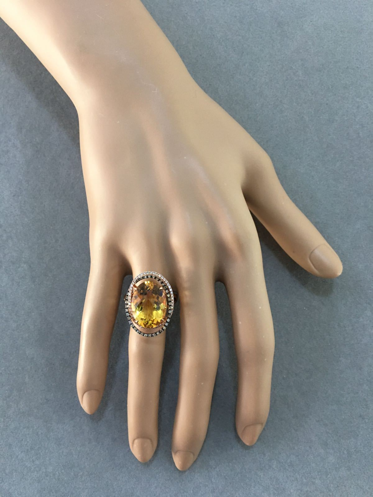 Oval Shaped Citrine & Diamond Ring