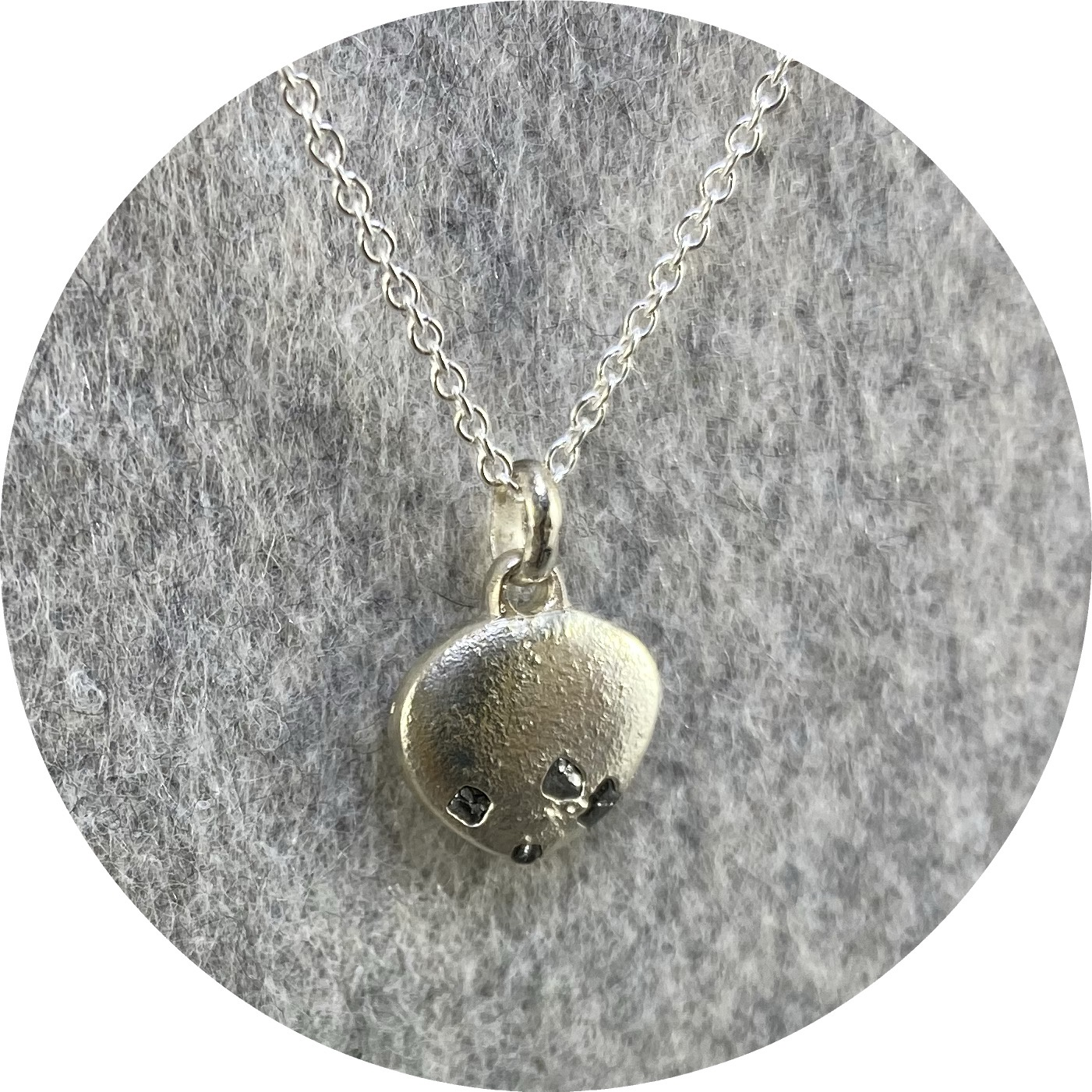 Kirra-Lea Caynes- Rough diamond and sterling silver pendant.