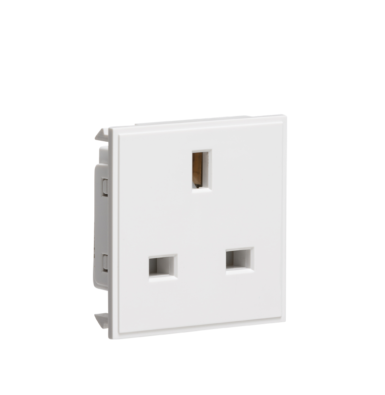 13A 1G White Unswitched Modular Socket