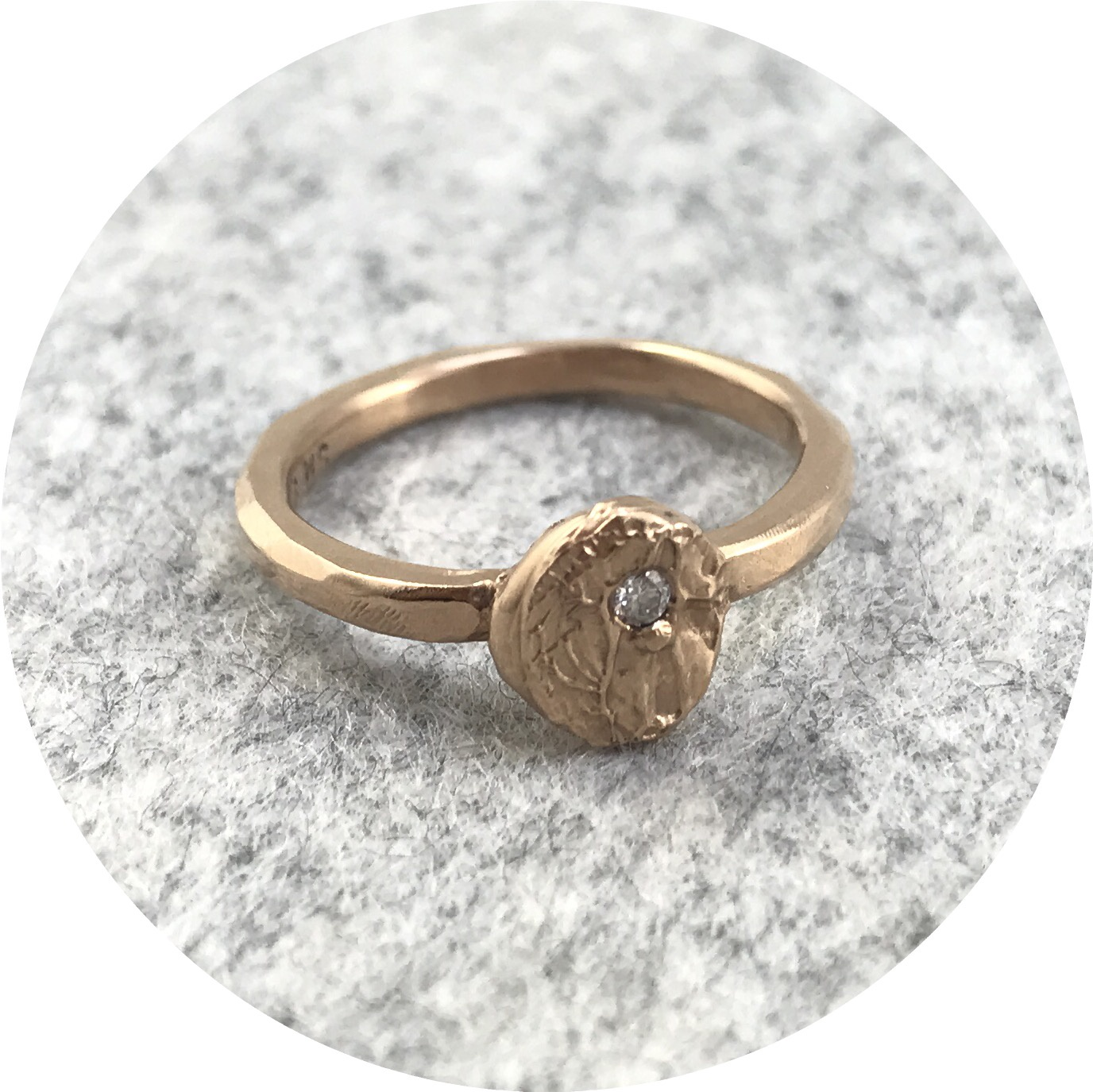 Susan McGinness - 'Impression' Ring in 9ct Rose Gold Ring with a Diamond