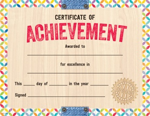 X CTP 2536 UPCYCLE STYLE CERTIFICATE OF ACHIEVEMENT
