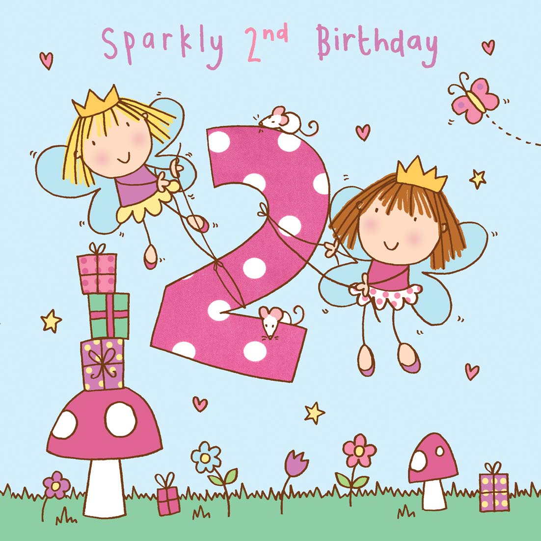 Age 2 Girls Twinkly Birthday Card Tw731 Childrens Birthday Cards