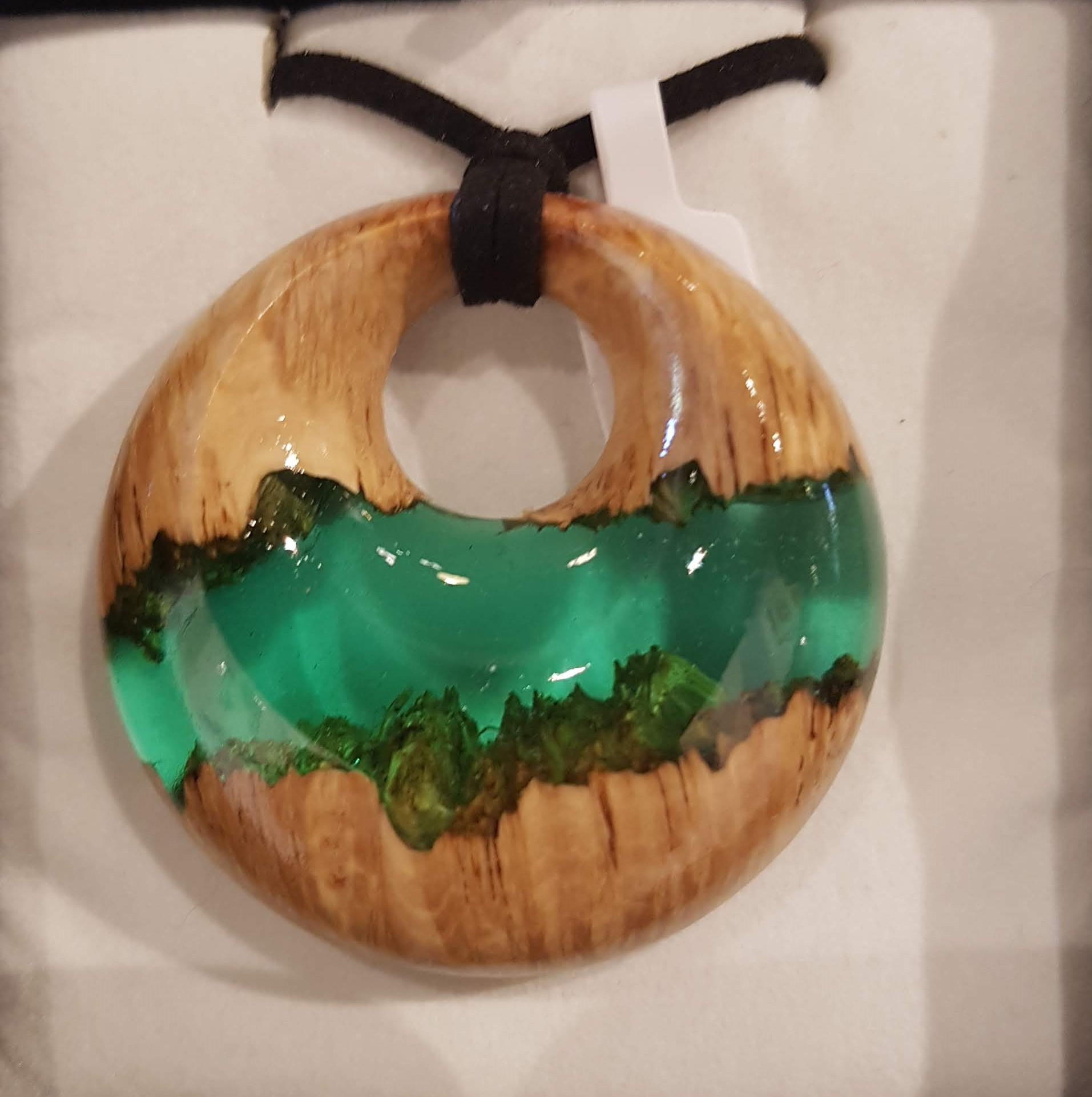 Sea Green Wood and Resin Pendant
