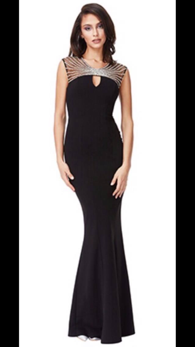 Floor Length Gown - Black Embellished Neckline Maxi Dress - Stevie ...