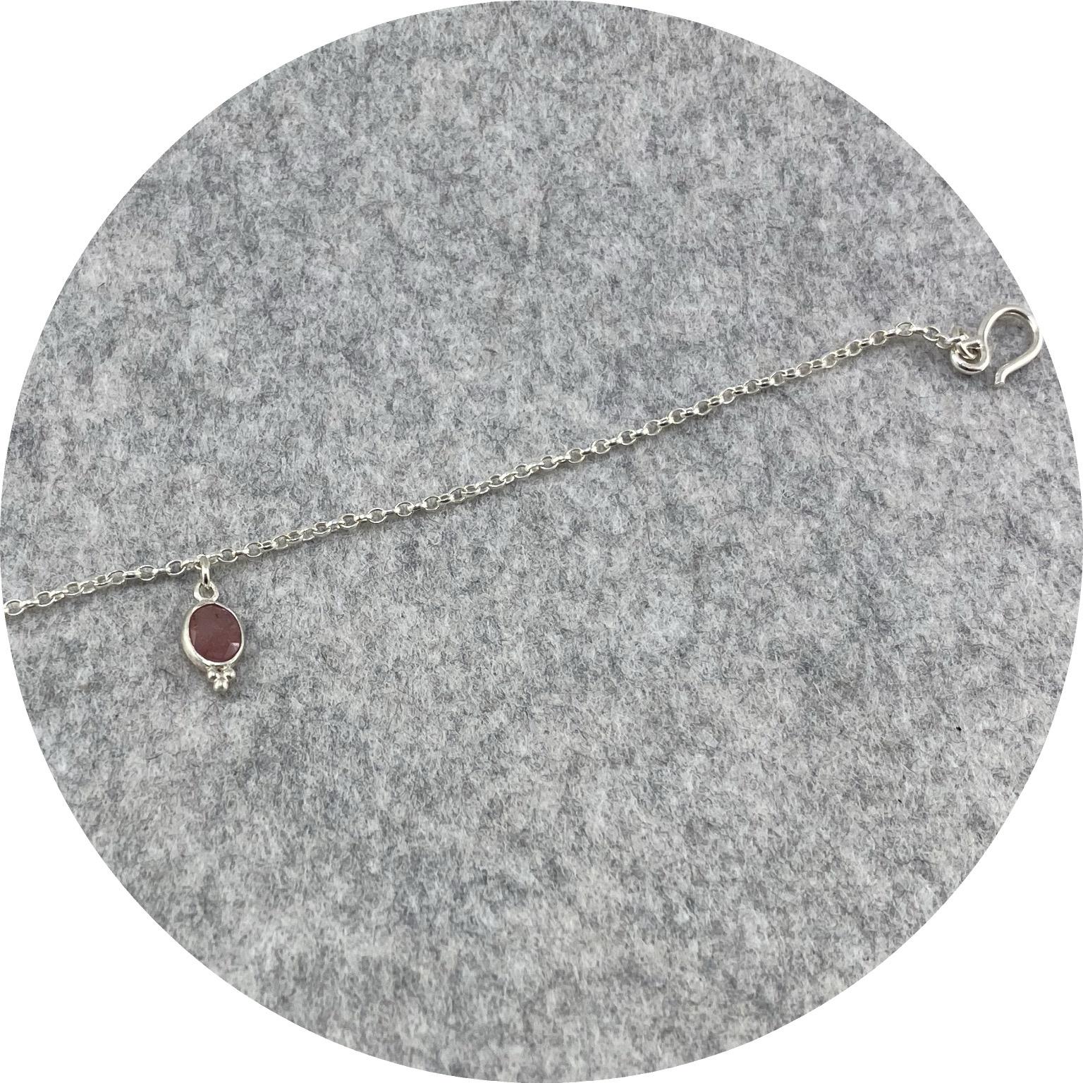 Katie Shanahan - Rose Cut Sapphire Pendant on a Sterling Silver Bracelet