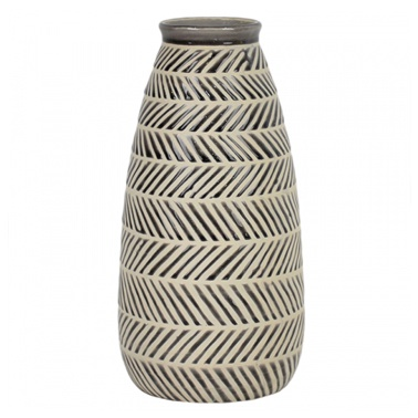 Ceramic Aztec Taper Vase Whtgry Vases Casual And Country Homestore