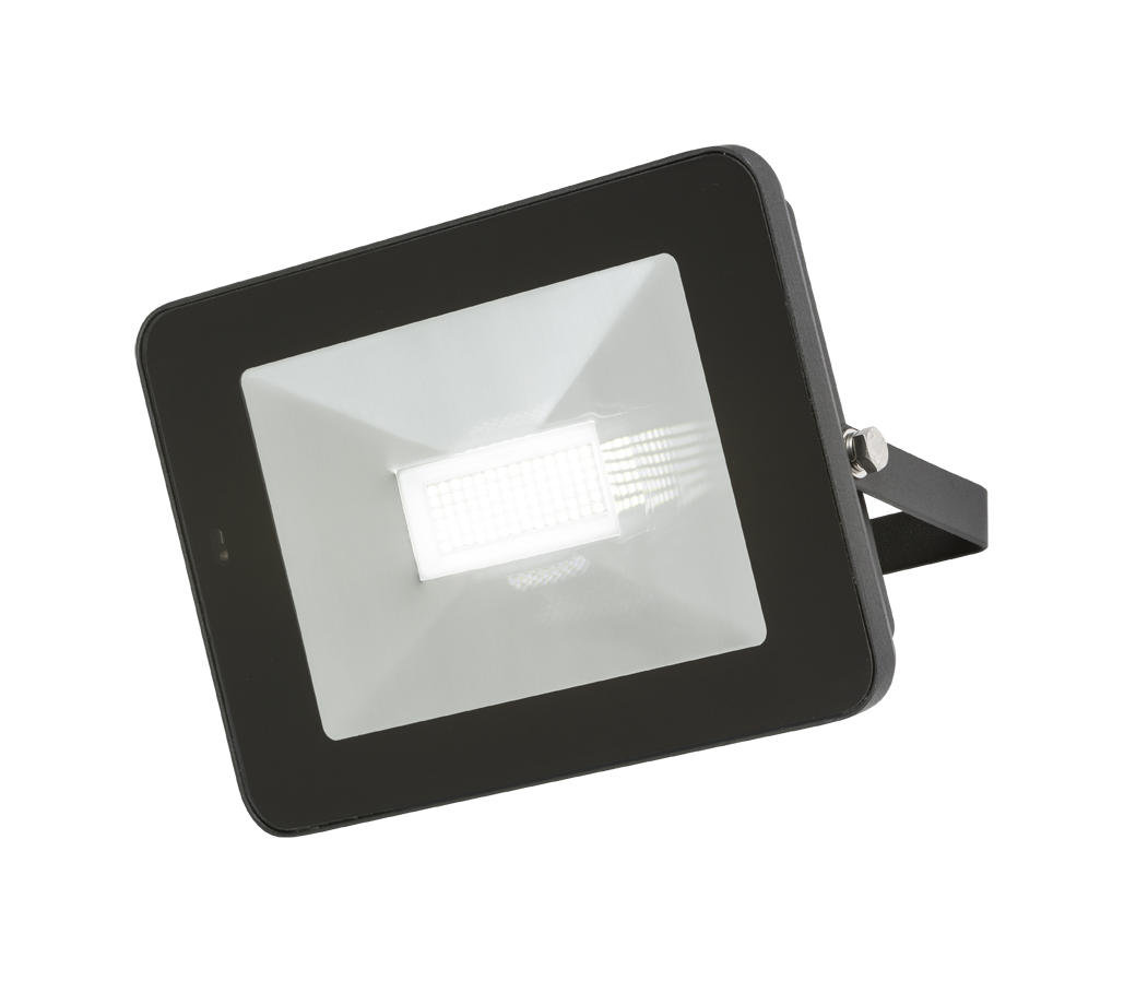 230V IP65 50W LED Black Die-Cast Aluminium Floodlight with Microwave Sensor 4000K