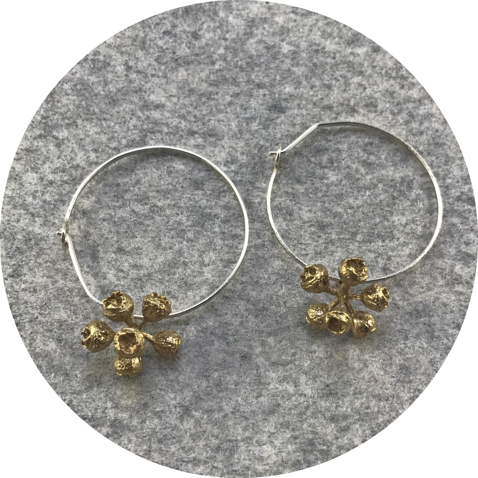 Abby Seymour - Gumnut Cluster Hoops in Brass and Sterling Silver