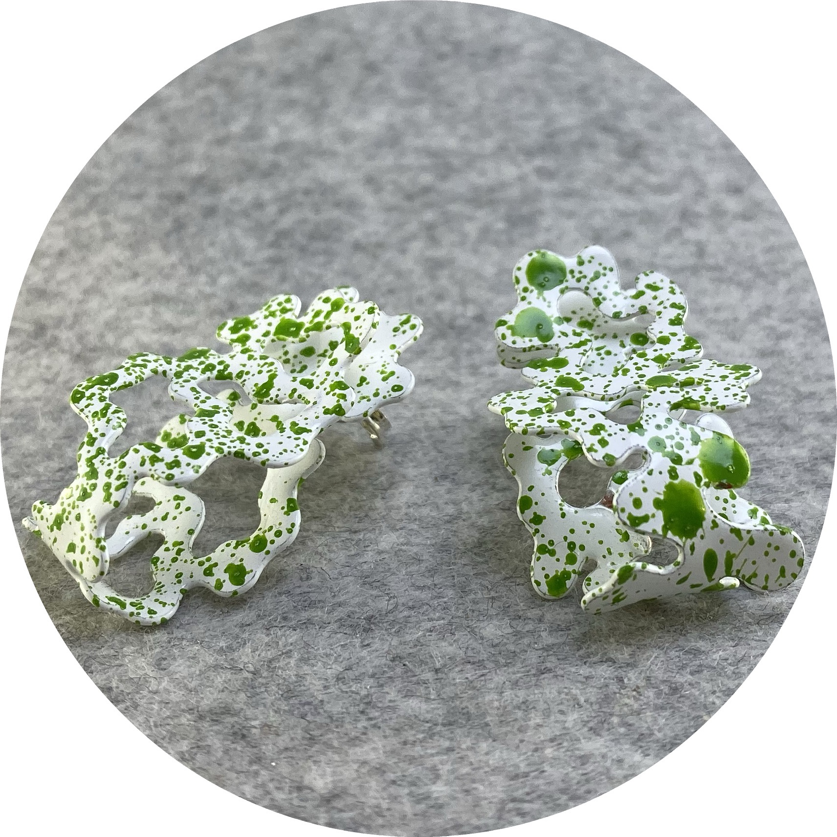 Cassandra Prinzi - 'Coral Clamshell Earrings Ocean Moss Green on White', copper, powder coat, enamel paint, 925 silve