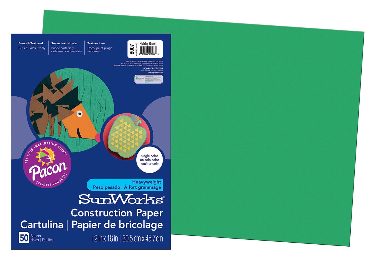 PA 8007 CONSTRUCTION PAPER 12 X 18 HOLIDAY GREEN