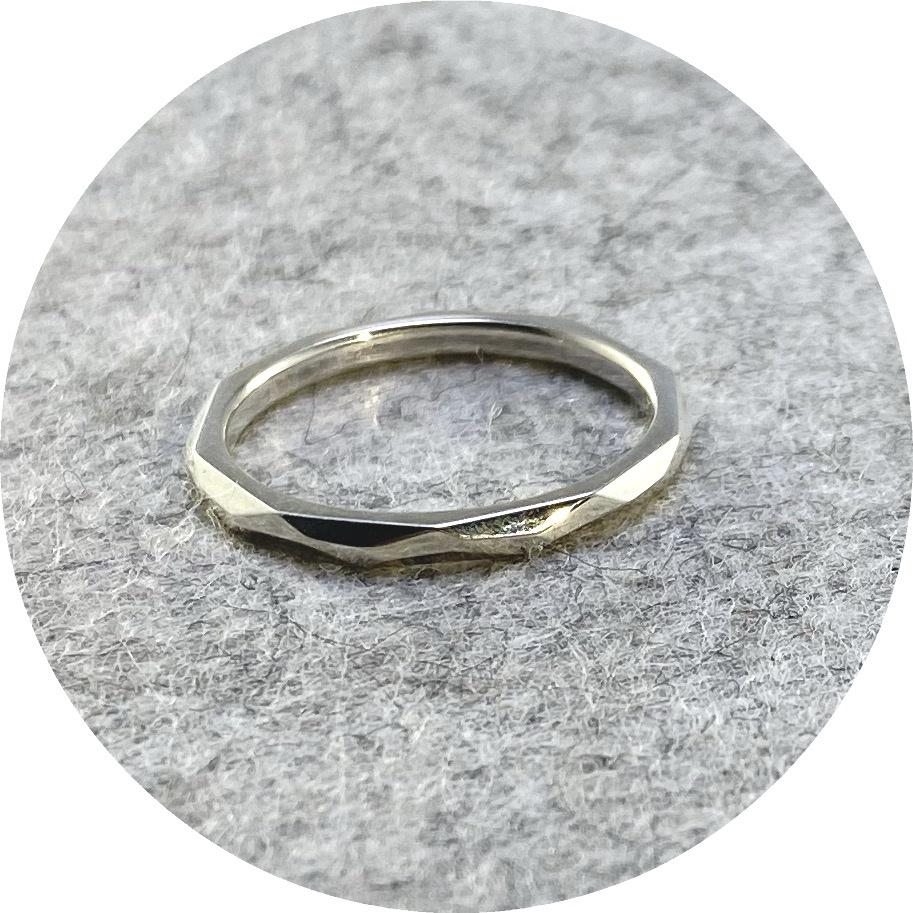 Eli Speaks- Geo-facet ring, sterling silver. size O.