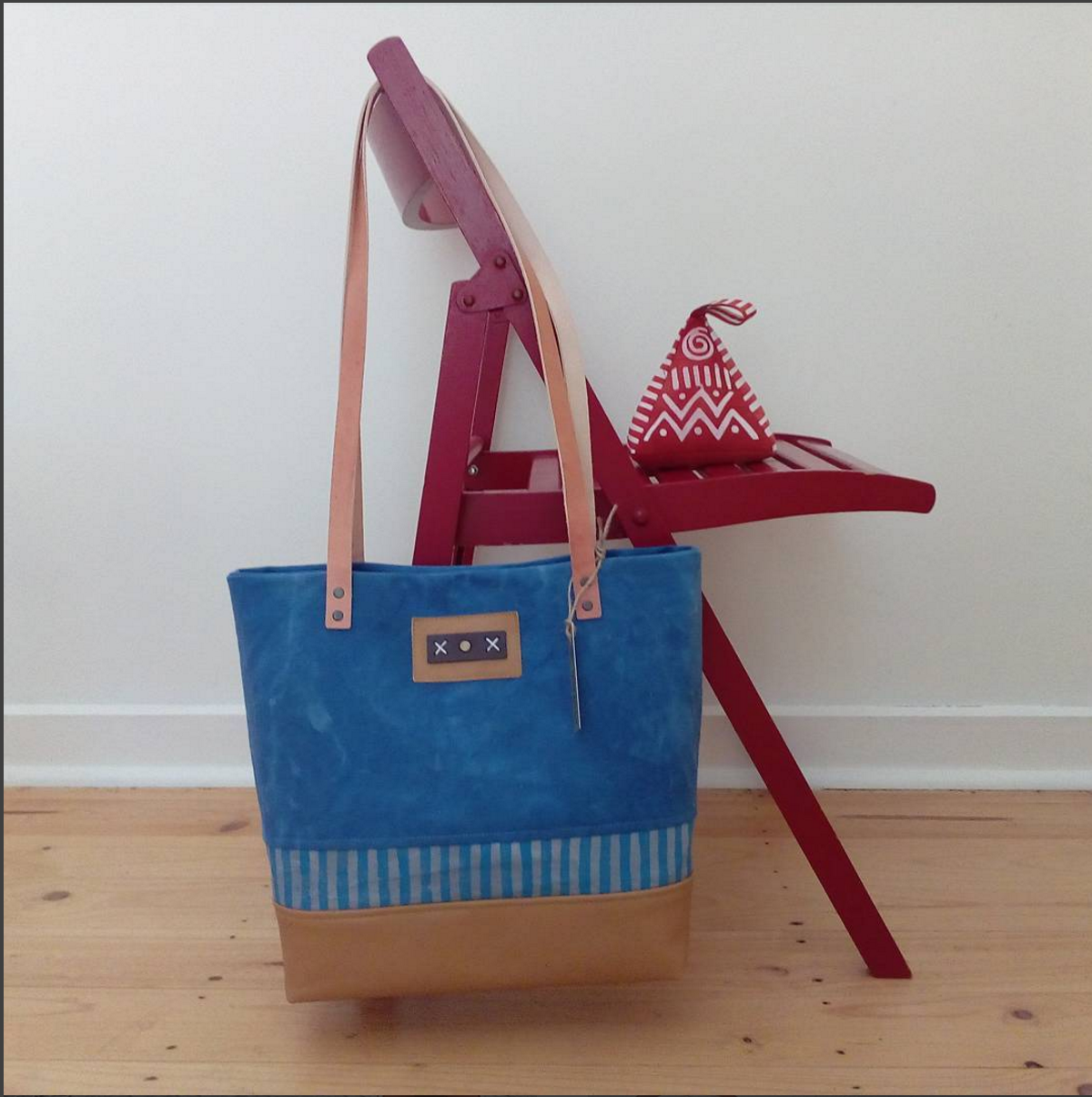 Blue and Tan Canvas and Leather Tote