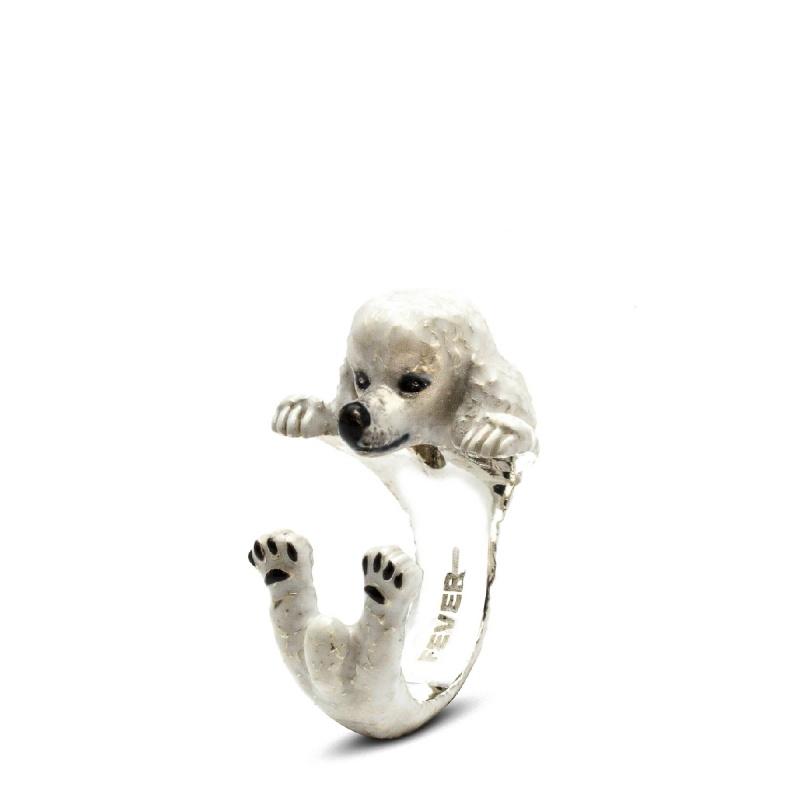Poodle Enamelled Sterling Silver Hug Ring