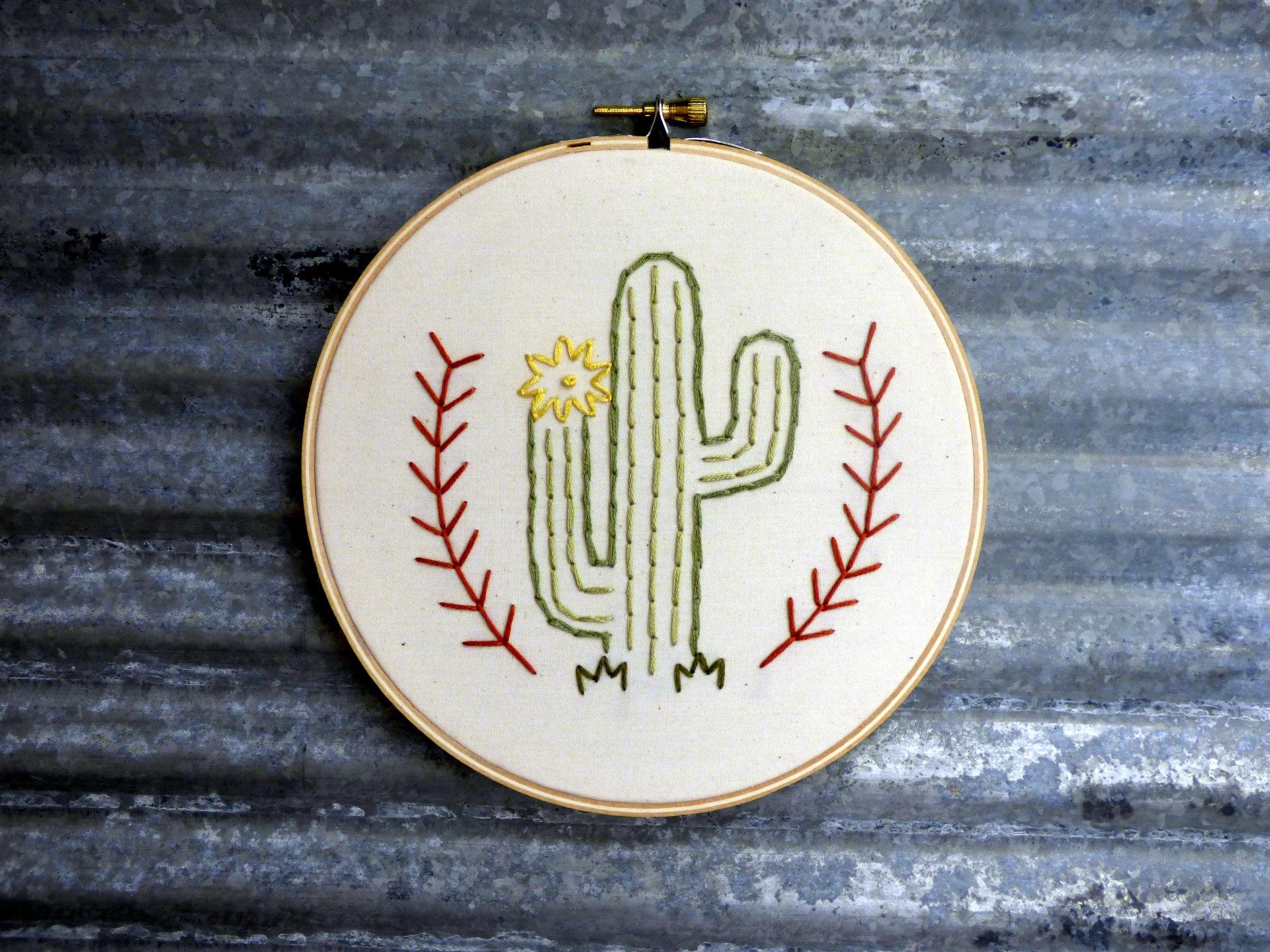 Cactus Embroidery Hoop Art Magpie Designs