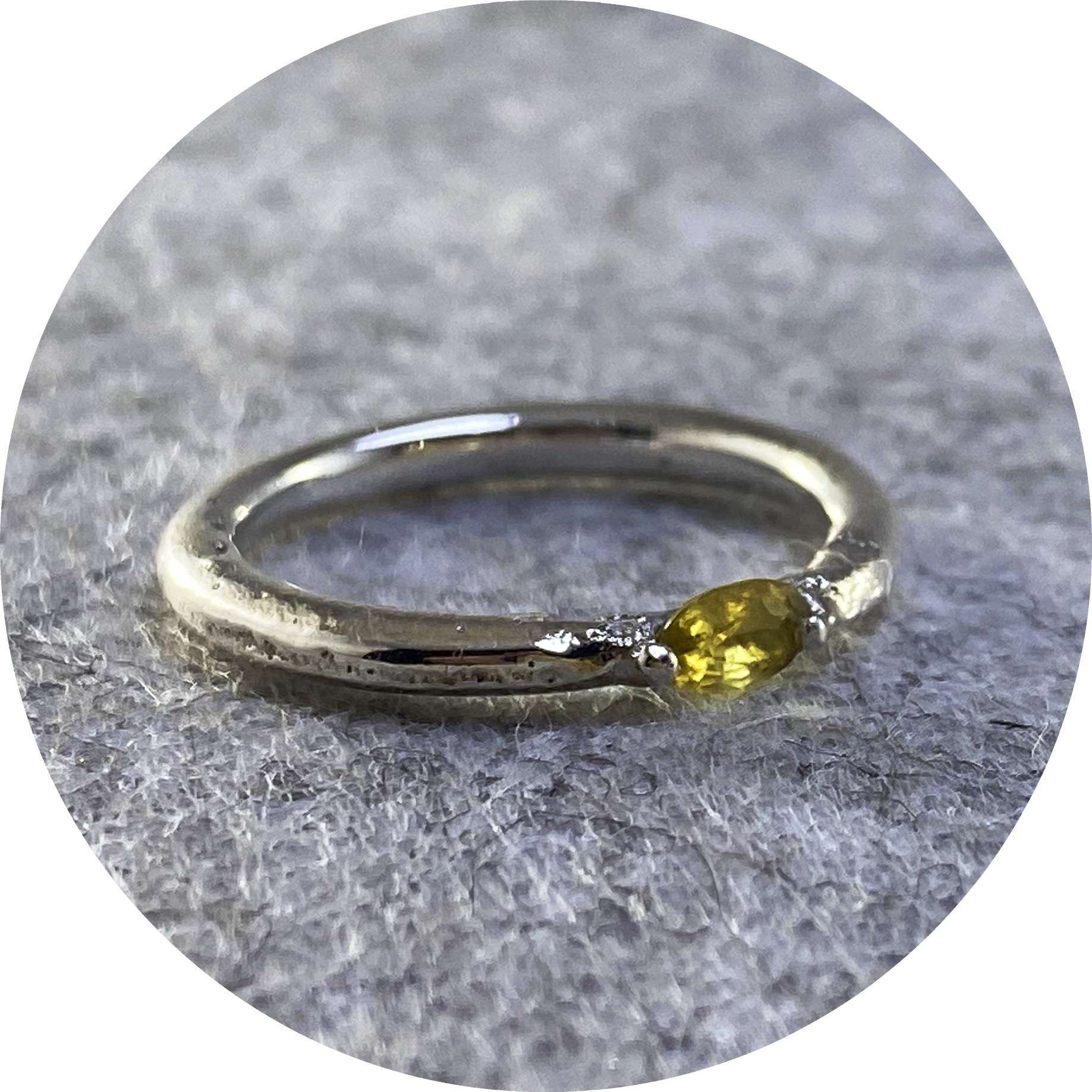 Kirra-Lea Caynes- Yellow sapphire, cast in place in sterling silver. size K