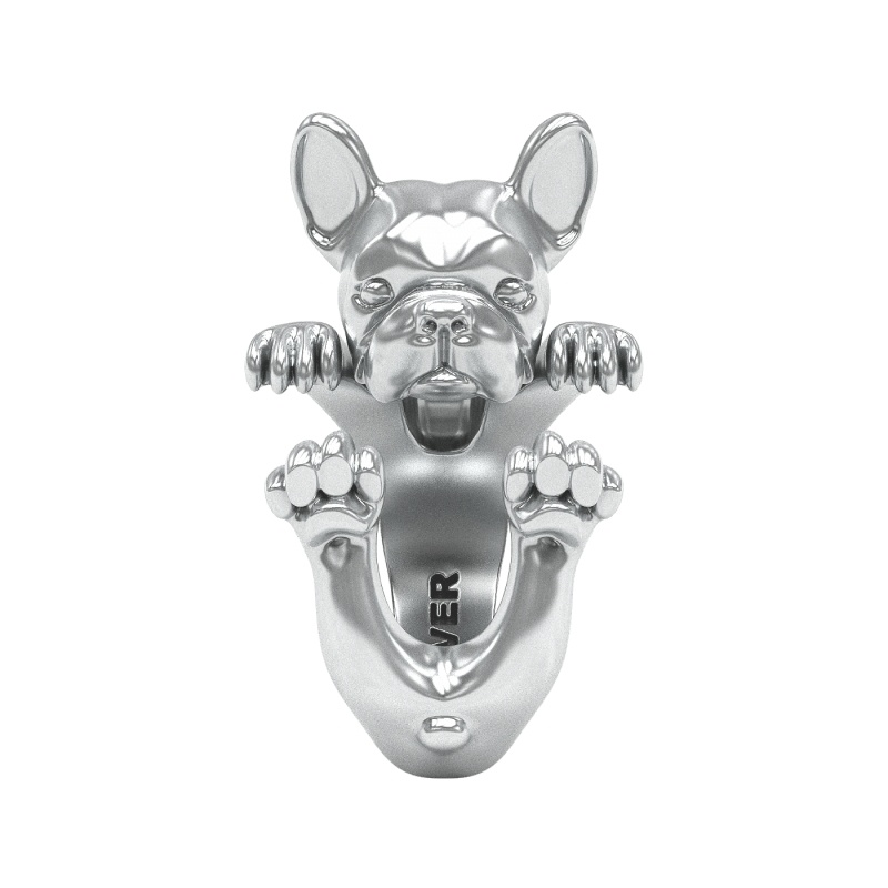 French Bulldog Sterling Silver Hug Ring