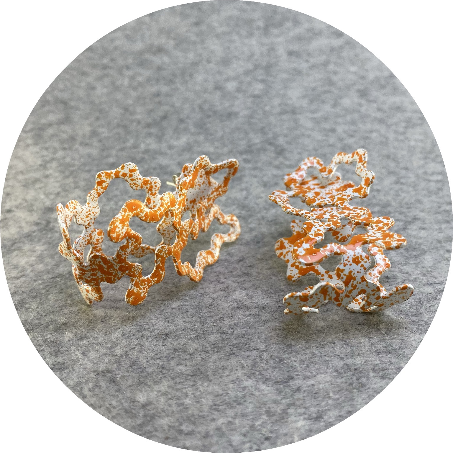 Cassandra Prinzi - 'Coral Clamshell Earrings Orange on White', copper, powder coat, enamel paint, 925 silver