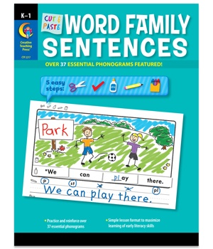 X CTP 2217 CUT AND PASTE WORD FAMILY SENTENCES K-1
