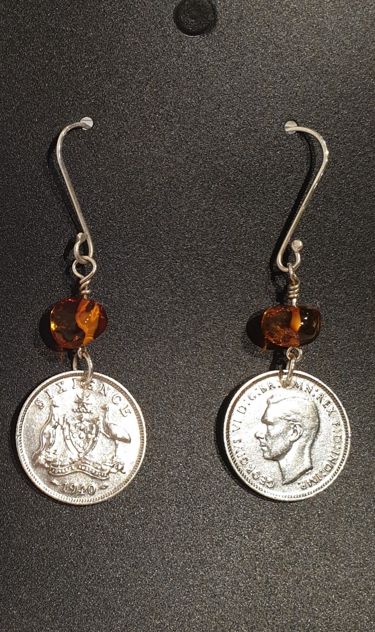 Genuine 1940 Sixpence and Amber Earrings