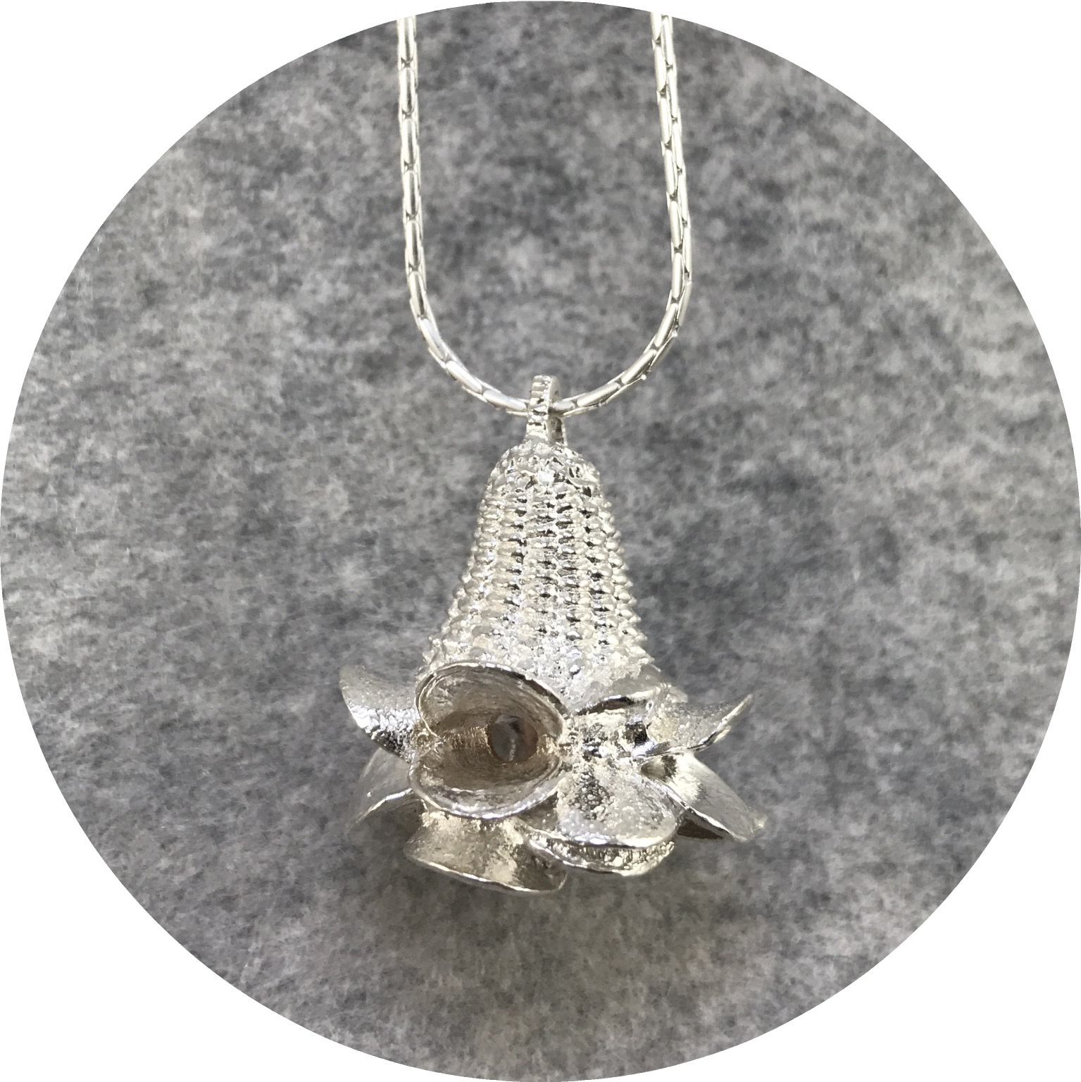 Abby Seymour- Banksia Necklace. Sterling Silver.