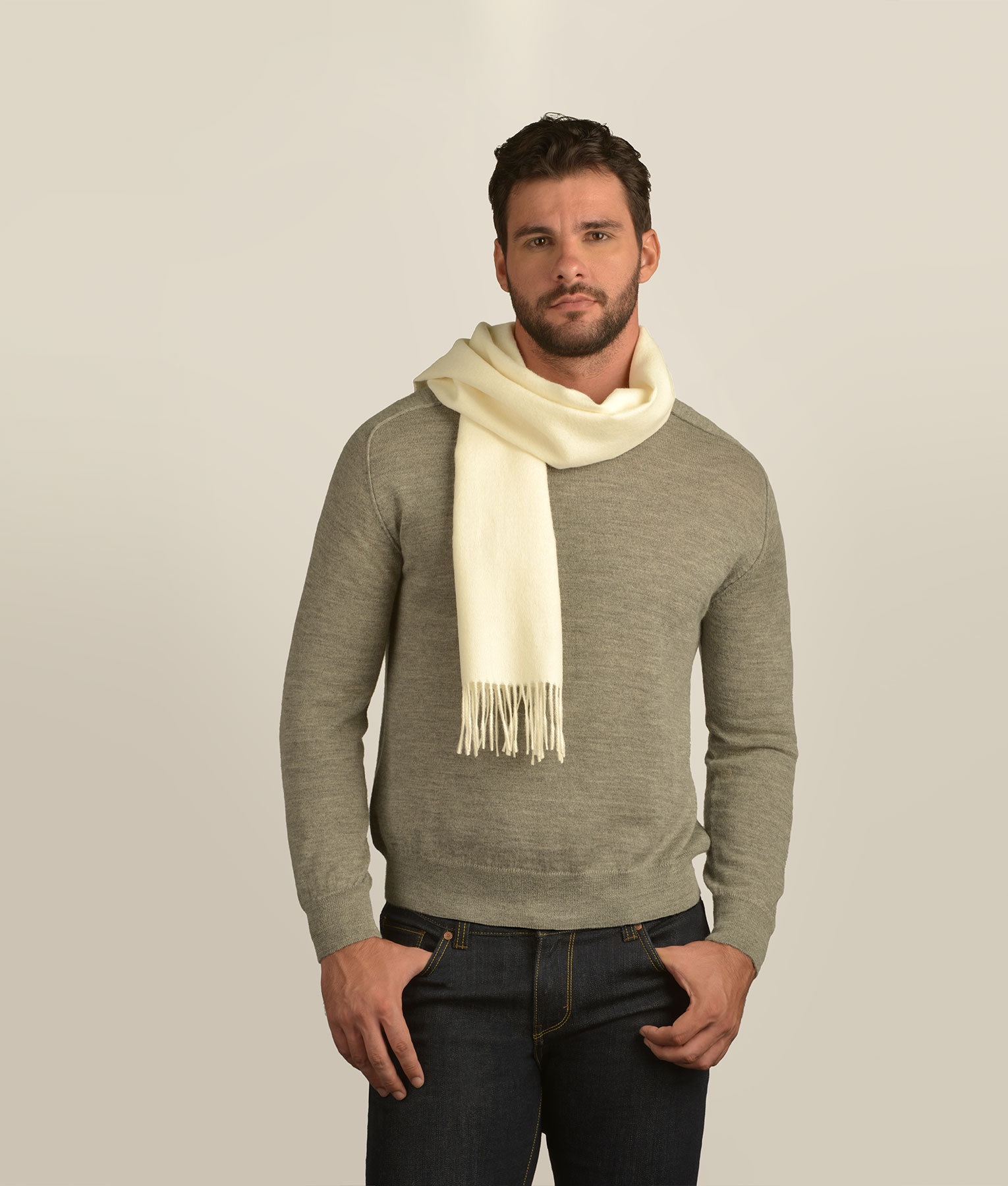 LONG BRUSHED SCARF ECRU 100