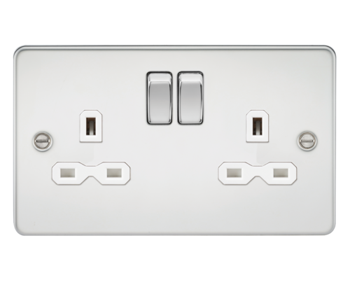 Flat plate 13A 2G DP switched socket - polished chrome with white insert