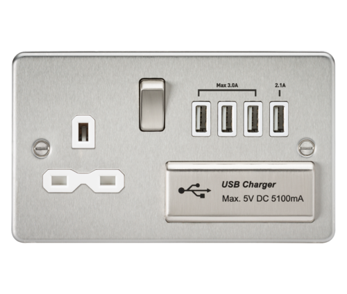 Flat plate 13A switched socket with quad USB charger - brushed chrome with white insert