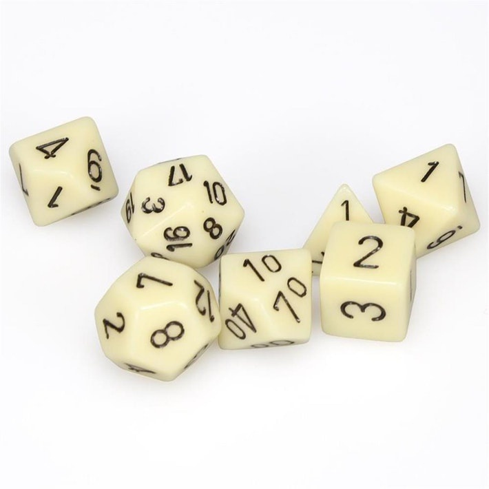 Polyhedral 7 Die Set Chessex Dice Opaque Ivory